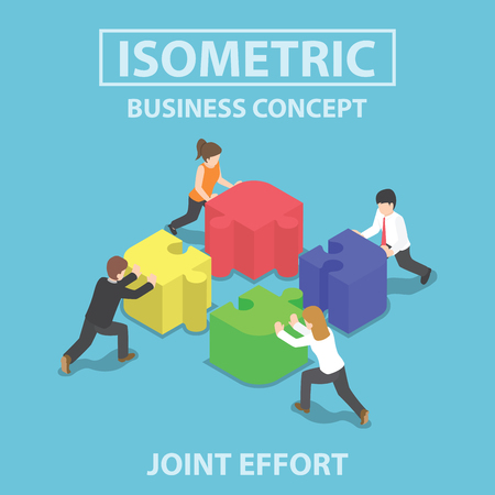 Isometric business people pushing and assembling four jigsaw puzzles, teamwork, collaboration, joint effort concept Stock Illustratie