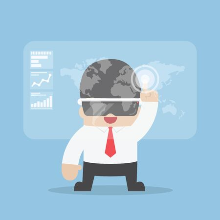 virtual reality simulator: Businessman using virtual reality headset or VR glasses