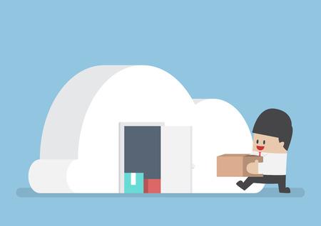 Businessman keep his stuff in cloudy shape room