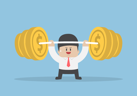 barbell: Businessman lifting up barbell with coin weight, financial strength concept