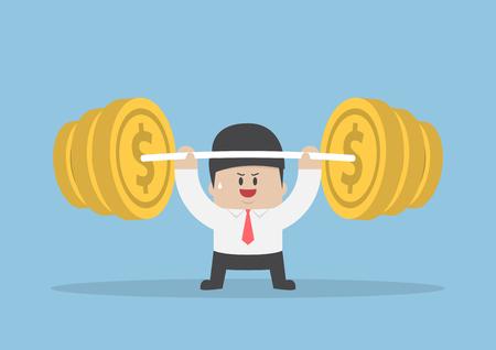 fuerza: El hombre de negocios levantando mancuerna con el peso de la moneda, el concepto de fortaleza financiera Vectores
