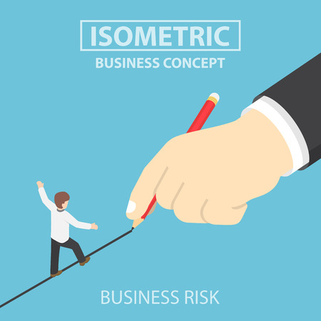 web design bridge: Isometric businessman walking on drawn line, business risk, opportunity concept