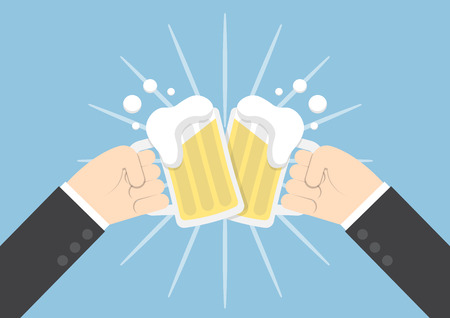 two men: Two businessman hands toasting glasses of beer, success, partnership concept
