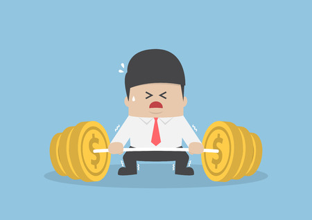 Businessman trying hard to lifting up barbell with coin weight, financial concept