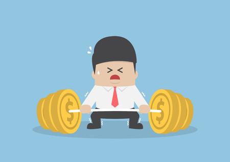 Uomo d'affari cercando difficile da sollevare bilanciere con peso moneta, concetto finanziario