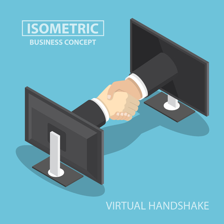 Isometric businessman hands reaching out from monitor screen to do handshake, internet working, wireless communication, online business concept