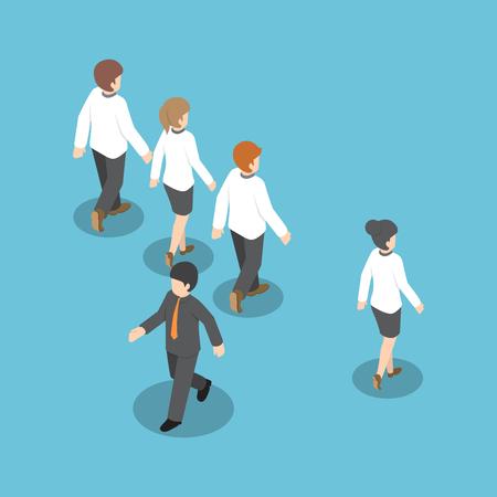 Isometrischen Unternehmer von anderen Menschen auf unterschiedliche Art und Weise gehen, denken anders, heben sich von der Masse ab, einzigartiges Konzept