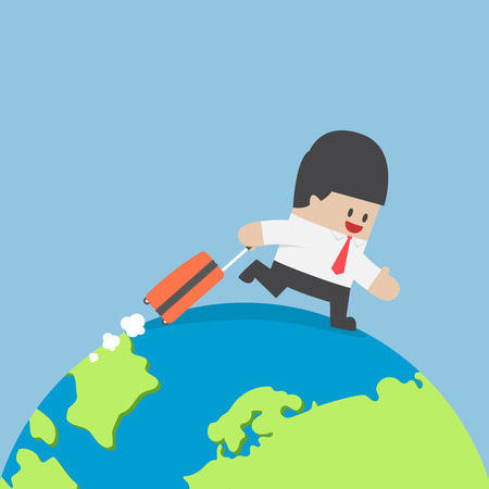cartoon globe: Businessman with suitcase walking around the world, International business travel concept Illustration