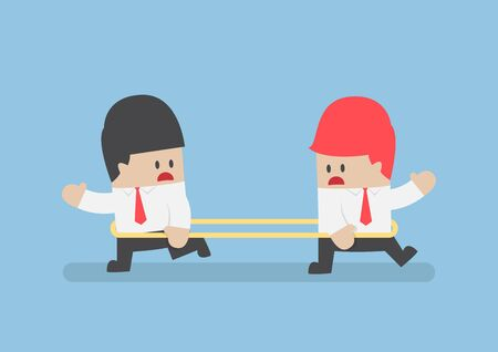 misunderstanding: Businessmen are walking to the opposite direction from each other Illustration