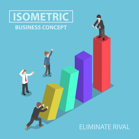 rival: Isometric businessman eliminate his rival by pushing bar graph