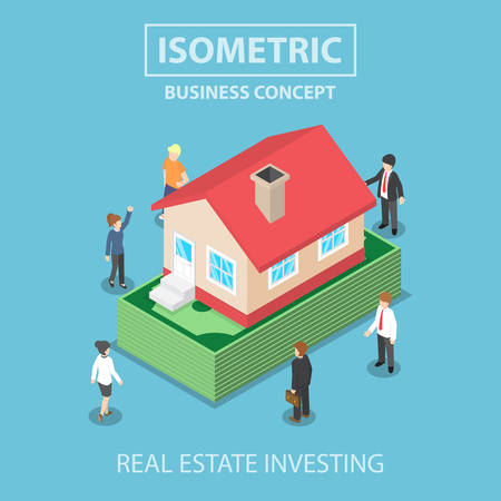 money symbol: Isometric house on the dollars banknote, real estate investment concept