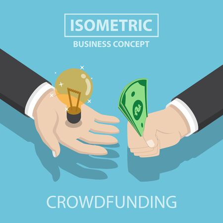 Isometrische zakenman handen te kopen en verkopen, nieuw idee, crowdfunding-concept