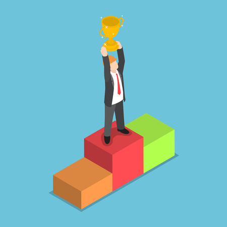 Isometric businessman standing on pedestal and holding trophy, business success, winner concept, VECTOR, EPS10 Illustration