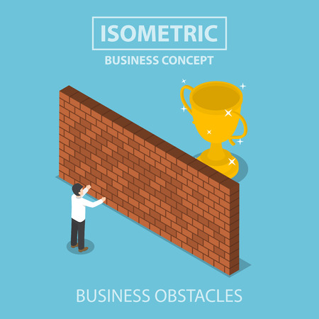Isometric businessman standing in front of brick wall with trophy behind, business obstacle concept