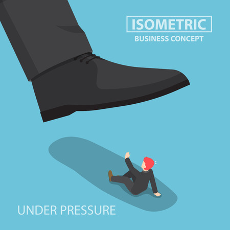 giant: Isometric businessman being crushed by giant foot, work under pressure, business crisis concept, VECTOR, EPS10