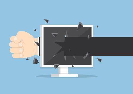 monitor screen: Businessman hand throw a punch through monitor screen, VECTOR, EPS10