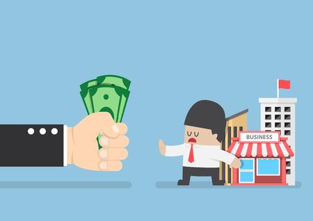 affari: Uomo d'affari non vuole vendere il suo business, vettore, EPS10