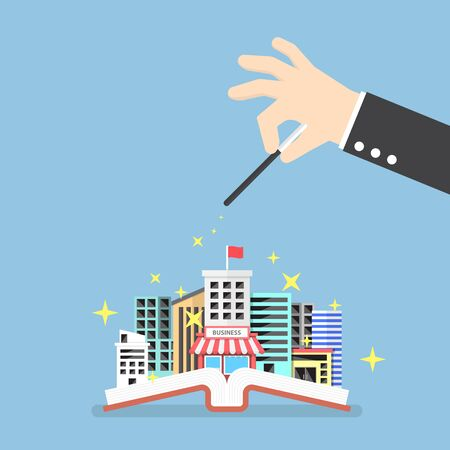 book concept: Businessman hand use magical to build city from opened book, creativity, education knowledge concept Illustration