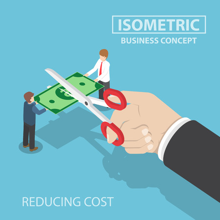 reducing: Isometric businessman hand with scissors cutting money, value of money decreasing, reducing cost, financial crisis concept Illustration