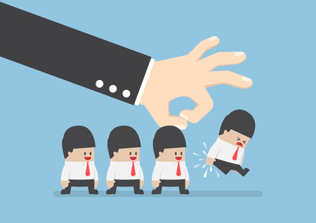 flick: Giant hand flick businessman away, conflict, sacked or fired concept Illustration