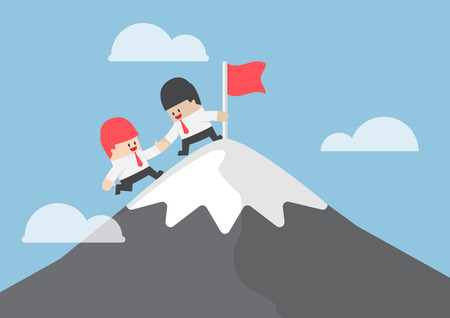 Businessman help his friend to reaching the top of mountain, teamwork concept