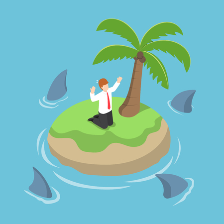 metaphor: Isometric businessman stranded in an island surrounded by shark, danger, business risk, bankruptcy concept