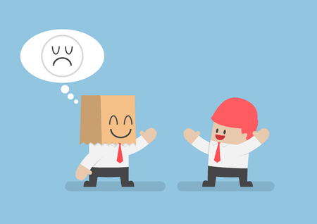 Businessman cacher ses tristes émotions derrière un sac en papier, le stress, le concept de sourire de la santé mentale Vecteurs
