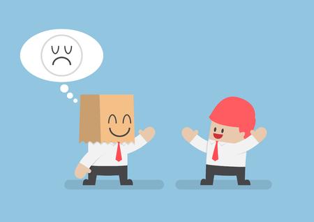 hide: Businessman hide his sad emotions behind a smiling paper bag, stress, mental health concept