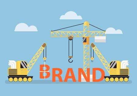 큰 브랜드 단어를 구축하는 건설 현장 크레인, 브랜드 구축의 개념 스톡 콘텐츠 - 55655355