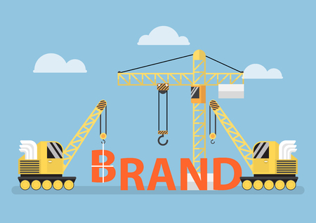 brands: Construction site crane building big brand word, brand building concept