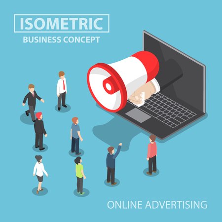 online advertising: Isometric businessman hand with loudspeaker sticking out from laptop with people, social media marketing, online advertising concept