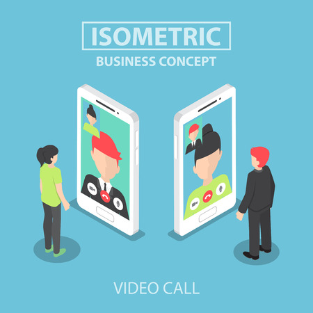 Isometric businessman make video call with his colleague on smartphone Illustration