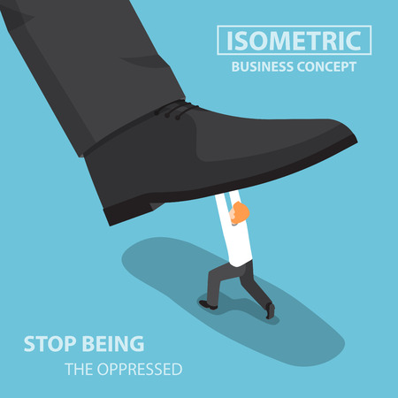 oppressed: Isometric businessman fight against giant foot, oppressed, conflict concept