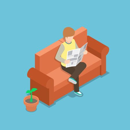 couches: Businessman reading a newspaper on the sofa