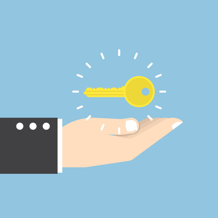hand key: Businessman with golden key over his hand, key to success concept Illustration