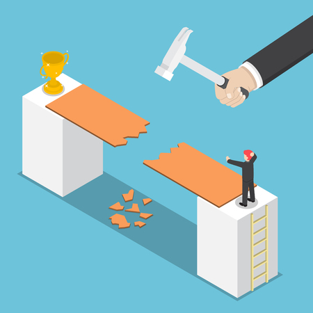obstacle: Isometric big hand destroy way to success of businessman, business obstacle, competiton, rival concept Illustration