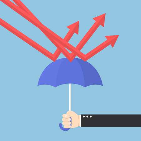 Businessman hand using umbrella to protect downtrend graph 向量圖像
