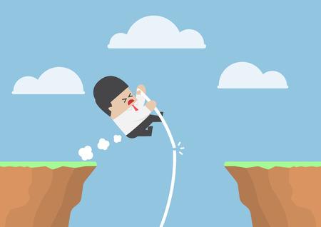 pole vault: Businessman pole vault across the cliff but he fail