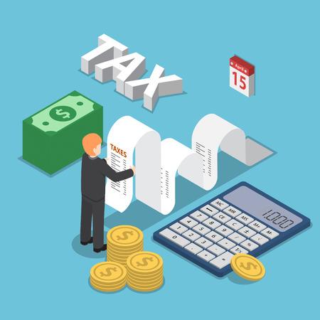 Isometrische zakenman berekenen document voor belastingen met calculator, contant geld en munten, kalender, belasting betalingsconcept