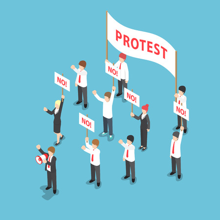 a group of people protesting: Isometric business people demonstration or Protest with megaphone and placard