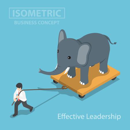 Isometic Geschäftsmann ziehen Elefanten, der auf Wagen, Effektive Führung stehen, Macht, Not, Karriere Belastung Konzept Vektorgrafik