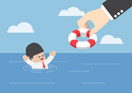 survive: Drowning businessman getting lifebuoy from big hand, helping business survive, support concept