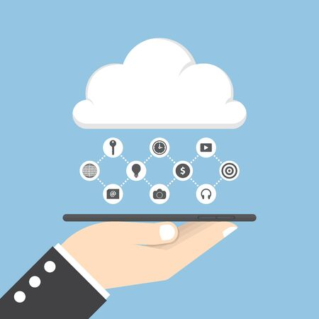 communication icons: Businessman hand holding tablet and share data on cloud, cloud computing concept