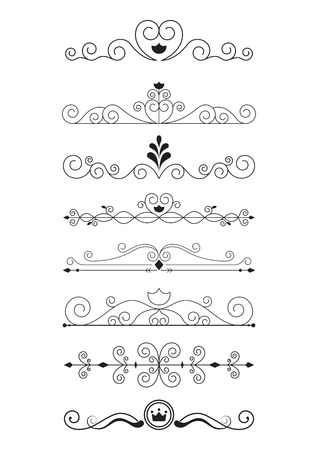 curved: Curve line designs elements and page decoration Illustration