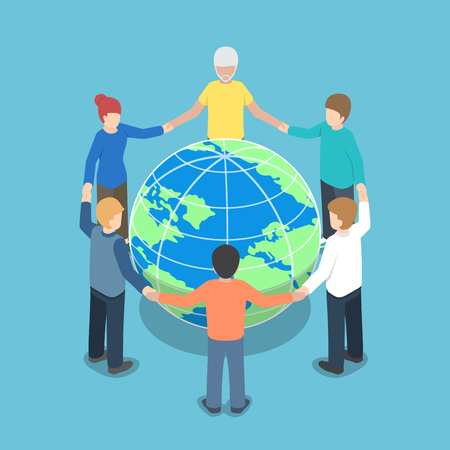 Isometric people around the world holding hands, teamwork, global business, unity concept Illustration