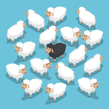ovejas negro isométrica en el rebaño, excepcional, diferente, el concepto de ventaja competitiva, vector, EPS10