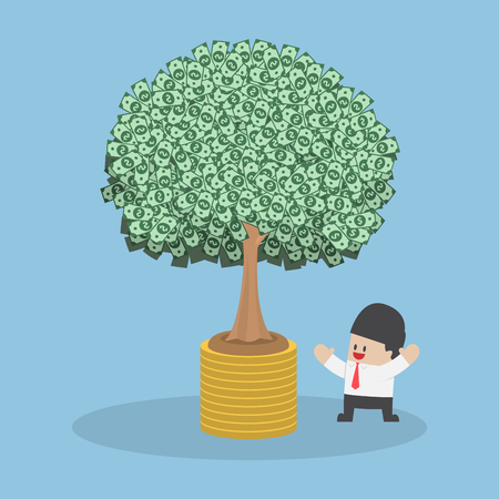 economic growth: Tree growth from money coin, economic growth, investment, financial management concept, VECTOR, EPS10 Illustration