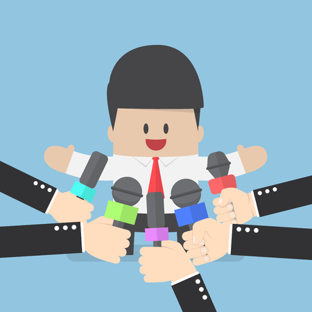spokesperson: Media microphones held in front of business man, press conference, politician, public speaking concept Illustration