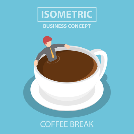 break in: Isometric businessman relaxing in a cup of coffee, coffee break concept
