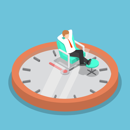 relax: Isometric businessman holding hands behind head and relaxing on the sofa with clock, break time, time management concept
